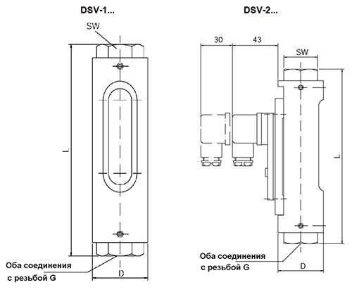 Габаритные размеры DSV-1, DSV-2