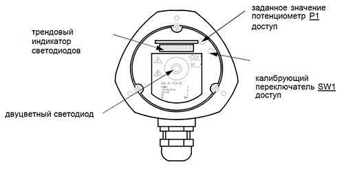 Схема внутренних контрольных  элементов для версий 110 VАC