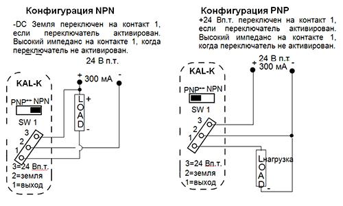 Схема электропроводкиKAL-Kдля версий 24 VDC