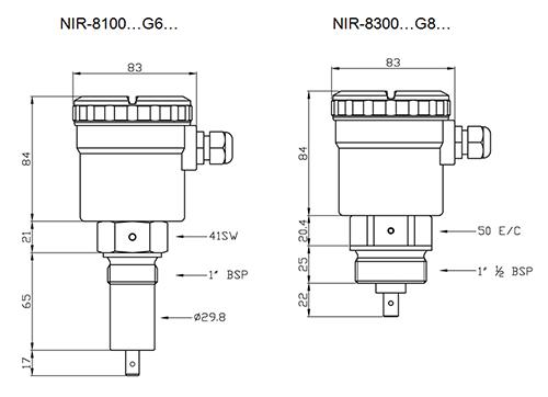 Габариты NIR-8100, NIR-8300