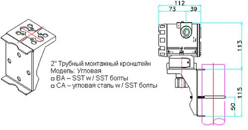 Пример типичного монтажа с кронштейном PAS