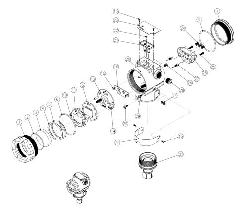 Экспонированный вид и составные части датчика PAS